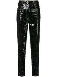 Versace Croco Embossed Trousers Black