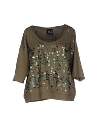 Twin Set Jeans Topwear Sweatshirts Women Military Green