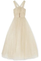 Monique Lhuillier Cutout Glittered Tulle Gown Ivory