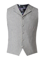 Gibson Men's Blue And White Stripe Waistcoat Blue