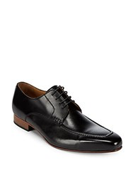 Massimo Matteo Square Toe Leather Derby Shoes Black