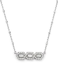 Bloomingdale's Diamond 3 Stone Bar Necklace In 14K White Gold .50 Ct. T.W.