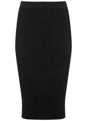 Mint Velvet Black Rib Knitted Pencil Skirt Black