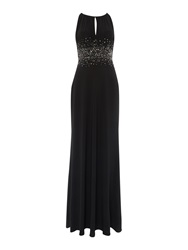 Js Collections Jewel Waist Keyhole Maxi Dress Black
