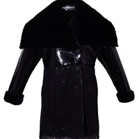 Ardent And Co Long Sleeve Faux Rabbit Fur Pu Coat Black