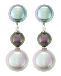 Majorica Triple Pearl Drop Earrings Gray Nuage Tahitian