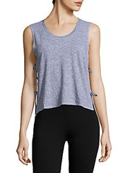 Lanston Sport Side Tie Crop Top Heather