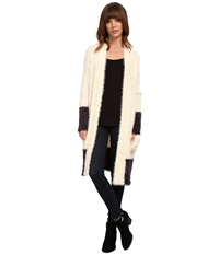 Chaser Shawl Collar Long Sweater Cardigan Vanilla Vintage Black Women's Sweater White
