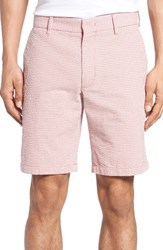 Zachary Prell Men's Fringe Check Seersucker Shorts Coral