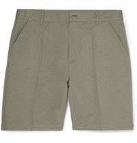 A.P.C. Lawrence Slim Fit Cotton And Linen Blend Twill Shorts Sage Green