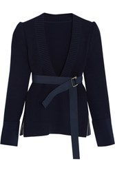 Sacai Belted Ribbed Wool Sweater Navy