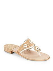 Jack Rogers Whipstitched Slip On Sandals Cork White