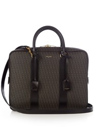 Saint Laurent Coated Canvas Monogram Briefcase Brown Multi