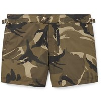 Tom Ford Slim Fit Short Length Camouflage Print Swim Shorts Green
