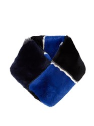 Diane Von Furstenberg Striped Rabbit Fur Scarf Black Blue