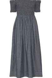 The Great Carnival Off Shoulder Shirred Cotton Chambray Midi Dress Mid Denim