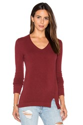 Inhabit Side Slit V Neck Sweater Red