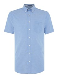 Gant Men's Washed Pin Point Short Sleeve Oxford Shirt Mid Blue
