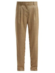 Hillier Bartley Button Seam Check Wool Trousers Brown Multi