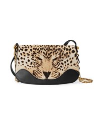 Gucci Leopard Print Shoulder Bag Women Leather Suede Calf Hair Metal One Size Black