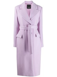 Pinko Belted Long Coat Purple