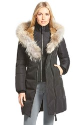 Women's Mackage Hooded Long Down Coat With Genuine Rabbit And Coyote Fur Trim Black