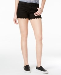 Vanilla Star Juniors' Crochet Trim Denim Shorts Black