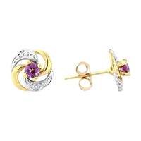 A B Davis 9Ct Gold Amethyst Knot Shaped Earrings Purple