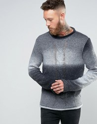Asos Ombre Knit Jumper With Cable Grey