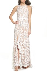 Jarlo Petal Lace Gown Ivory