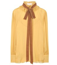 See By Chloe Crepe Georgette Blouse With Velvet Pussy Bow Yellow