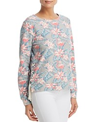 Billy T Tropical Print Lace Up Sweatshirt Gray