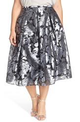 Plus Size Women's Alex Evenings Floral Print Pleated Tea Length Skirt