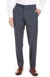 Nordstrom Men's Shop Check Flat Front Stretch Wool Pants Grey