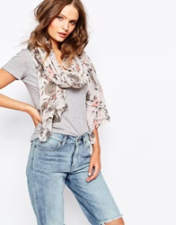 New Look Pretty Pale Floral Lightweight Scarf Cream