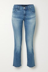 J Brand Adele Cropped Distressed High Rise Slim Leg Jeans Mid Denim