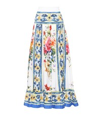 Dolce And Gabbana Printed Cotton Maxi Skirt Multicoloured
