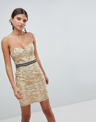 Girl In Mind Bandeau Embroidered Mini Dress Gold