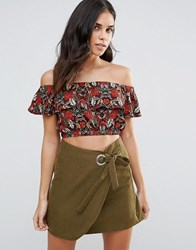 Influence Floral Ruffle Crop Top Multi