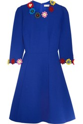 Mary Katrantzou Cooper Floral Appliqued Wool Crepe Dress Bright Blue