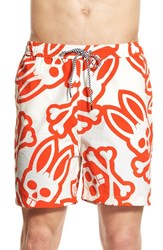 Men's Psycho Bunny Print Swim Trunks Red