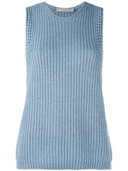 Vince Ribbed Knit Top Women Cotton S Blue