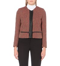 Sandro Woven Metallic Tweed Blazer Multi Color