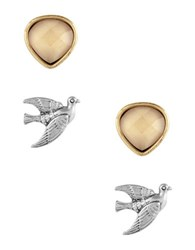 Lucky Brand Sun Kissed Moments Dual Tone Bird And Citrine Stud Earrings Set Gold
