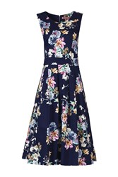 Jolie Moi Retro Floral 50S Dress Navy