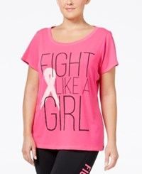 Ideology Plus Size Pink Ribbon Graphic T Shirt Only At Macy's Molten Pink