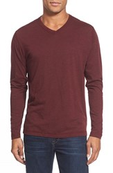 Men's Agave 'Walter' Long Sleeve V Neck T Shirt Cabernet