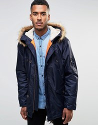 Farah Hooded Parka Coat With Faux Fur Trim Hood Navy