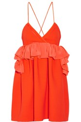 Victoria Beckham Ruffled Silk Trimmed Wool Mini Dress Bright Orange