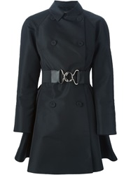 Giambattista Valli Belted Flared Trench Coat Black
